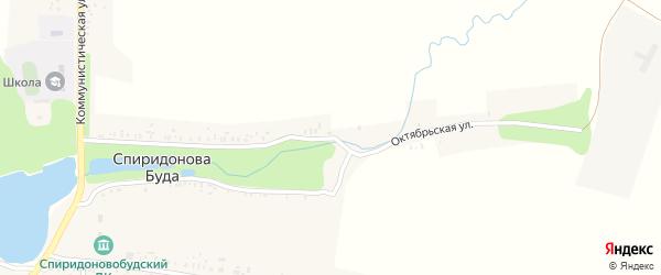 Октябрьская улица на карте села Спиридоновой Буды с номерами домов