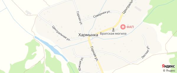 Горная улица на карте деревни Хармынки с номерами домов