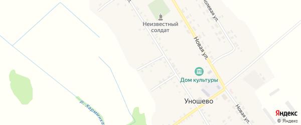 Луговой переулок на карте села Уношево с номерами домов