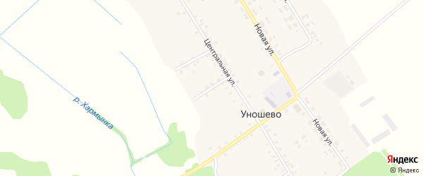 Озерный переулок на карте села Уношево с номерами домов