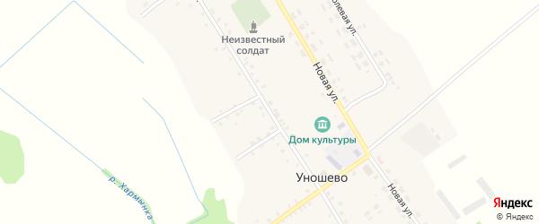 Центральная улица на карте села Уношево с номерами домов