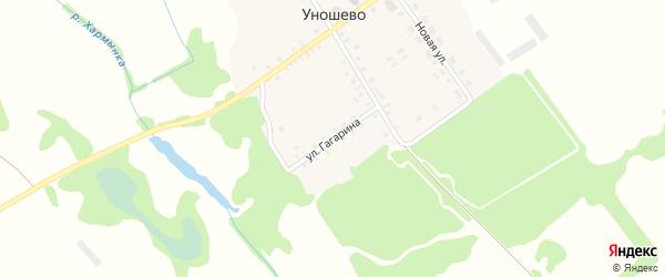 Улица Гагарина на карте села Уношево с номерами домов