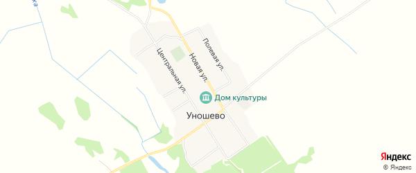 Карта села Уношево в Брянской области с улицами и номерами домов