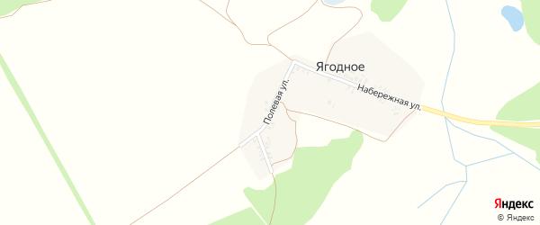 Полевая улица на карте поселка Ягодного с номерами домов