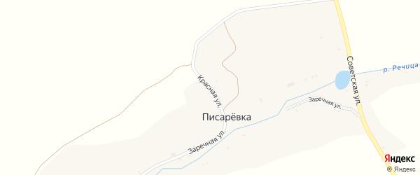 Красная улица на карте поселка Писаревки с номерами домов