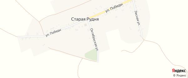 Октябрьская улица на карте деревни Старой Рудни с номерами домов