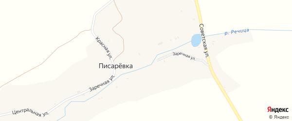 Заречная улица на карте поселка Писаревки с номерами домов