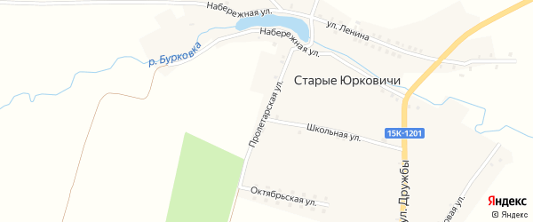 Школьная улица на карте села Старые Юрковичи с номерами домов