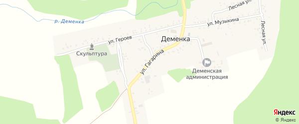 Улица Гагарина на карте села Деменки с номерами домов