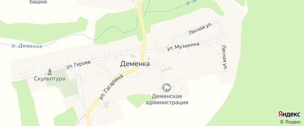 Улица Социальный городок на карте села Деменки с номерами домов