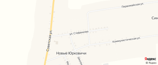 Улица Стефанкова на карте села Новые Юрковичи с номерами домов