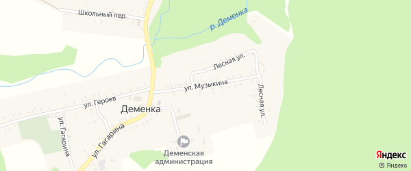 Улица Музыкина на карте села Деменки с номерами домов