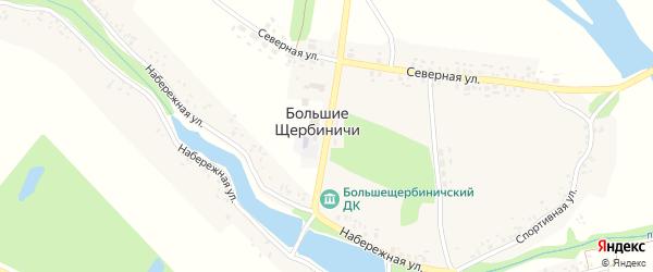 Центральная улица на карте села Большие Щербиничи с номерами домов