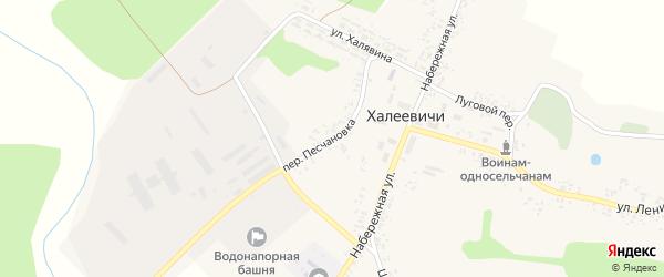 Переулок Песчановка на карте деревни Халеевичи с номерами домов