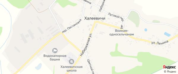 Набережная улица на карте деревни Халеевичи с номерами домов