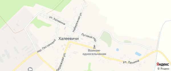 Луговой переулок на карте деревни Халеевичи с номерами домов