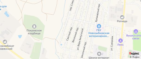 Светлый переулок на карте Новозыбкова с номерами домов