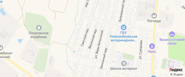 Весенний переулок на карте Новозыбкова с номерами домов