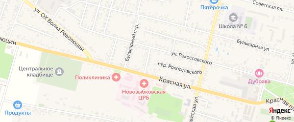 Красный переулок на карте Новозыбкова с номерами домов
