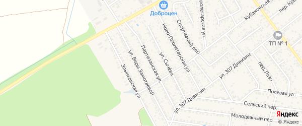 Партизанская улица на карте Новозыбкова с номерами домов