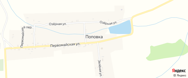 Зеленая улица на карте деревни Поповки с номерами домов