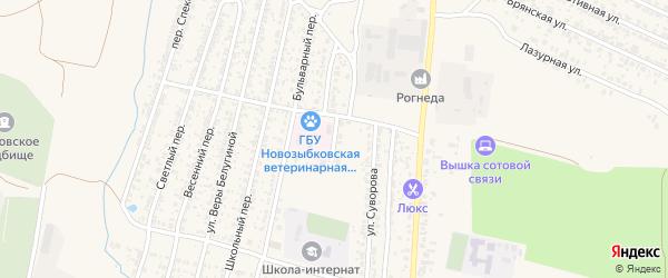 Янтарный переулок на карте Новозыбкова с номерами домов
