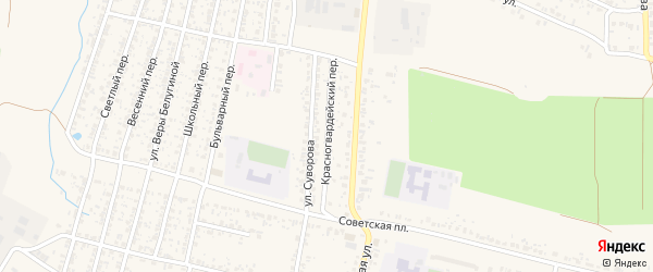 Красногвардейский переулок на карте Новозыбкова с номерами домов