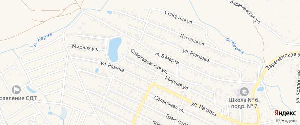 Спартаковская улица на карте Новозыбкова с номерами домов