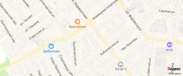 Кубановский переулок на карте Новозыбкова с номерами домов