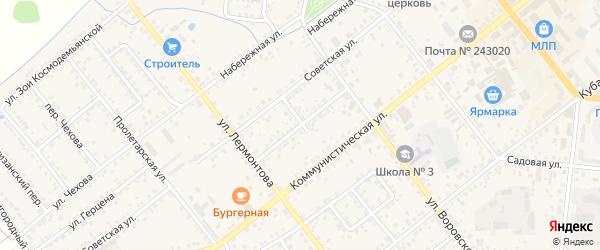 Переулок Куйбышева на карте Новозыбкова с номерами домов
