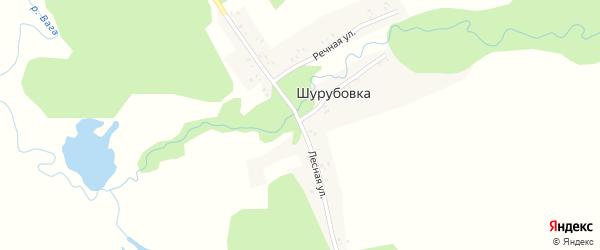 Лесная улица на карте деревни Шурубовки с номерами домов