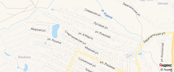 Улица 8 Марта на карте Новозыбкова с номерами домов