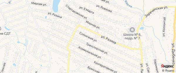 Солнечная улица на карте Новозыбкова с номерами домов