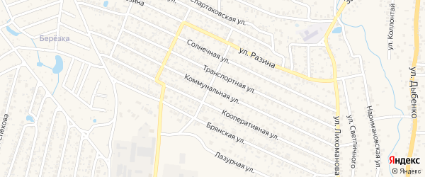 Коммунальная улица на карте Новозыбкова с номерами домов