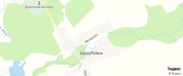 Речная улица на карте деревни Шурубовки с номерами домов