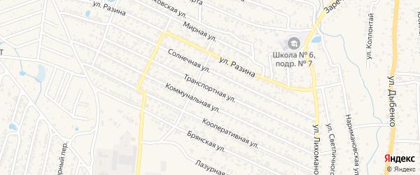 Транспортная улица на карте Новозыбкова с номерами домов