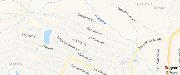 Улица Рожкова на карте Новозыбкова с номерами домов