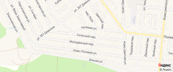 Сельский переулок на карте Новозыбкова с номерами домов