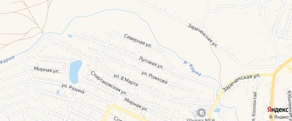 Луговая улица на карте Новозыбкова с номерами домов