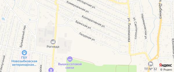 Лазурная улица на карте Новозыбкова с номерами домов