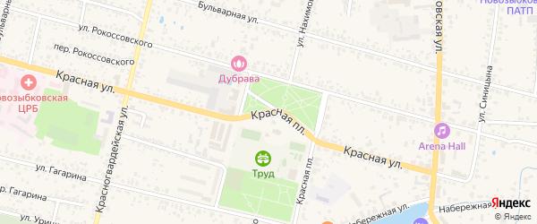 Красная площадь на карте Новозыбкова с номерами домов
