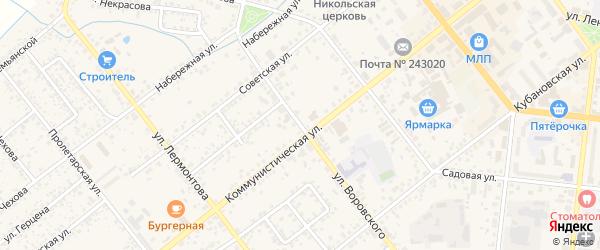 Улица Воровского на карте Новозыбкова с номерами домов