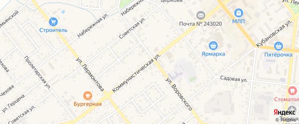 Коммунистическая улица на карте Новозыбкова с номерами домов