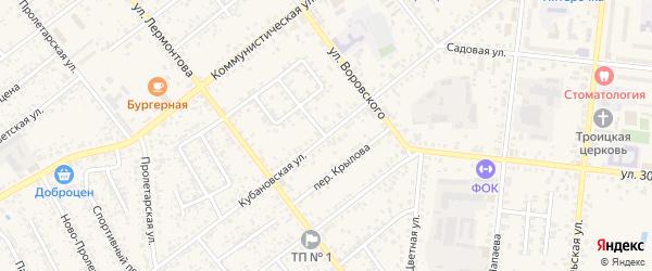 Кубановская улица на карте Новозыбкова с номерами домов