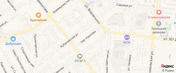 Переулок Крылова на карте Новозыбкова с номерами домов