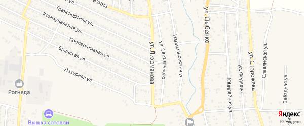Улица Лихоманова на карте Новозыбкова с номерами домов
