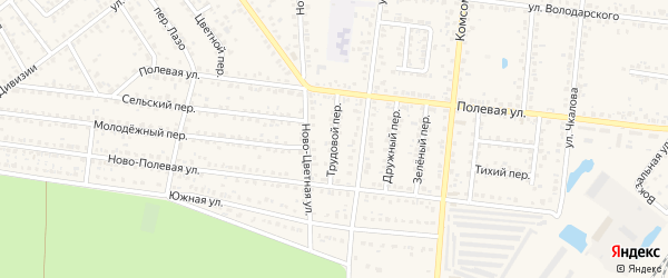 Трудовой переулок на карте Новозыбкова с номерами домов