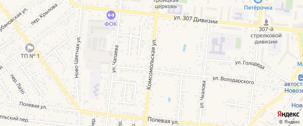 Комсомольская улица на карте Новозыбкова с номерами домов