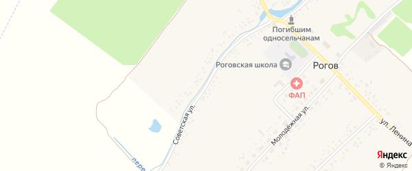Советская улица на карте села Рогова с номерами домов