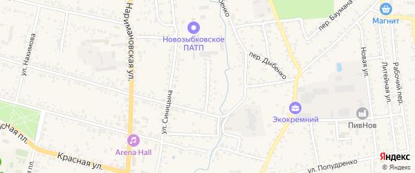 Переулок Луначарского на карте Новозыбкова с номерами домов